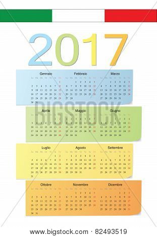 Italian 2017 Vector Color Calendar.