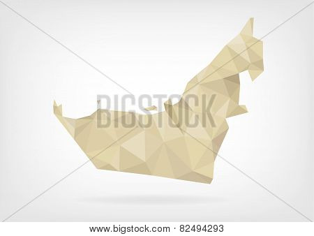Low Poly map of United Arab Emirates