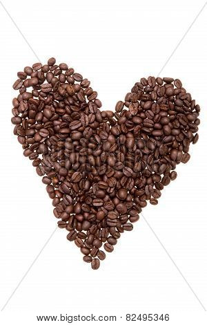 Roasted Coffee Beans Placed In Shape Of Heart.