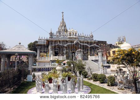 KOLKATA,INDIA - FEBRUARY 12: Jain Temple (also called Parshwanath Temple) is a Jain temple at Badridas Temple Street is a major tourist attraction in Kolkata, West Bengal, India on February 12,2014.
