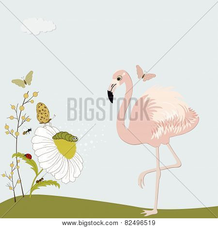 Cute Pink Flamingo With Chamomile And Insects