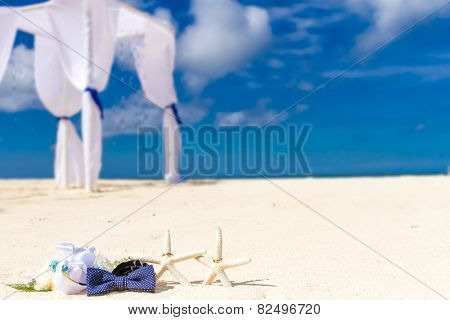 wedding rings on sand and starfish, outdoor beach wedding, wedding venue, details