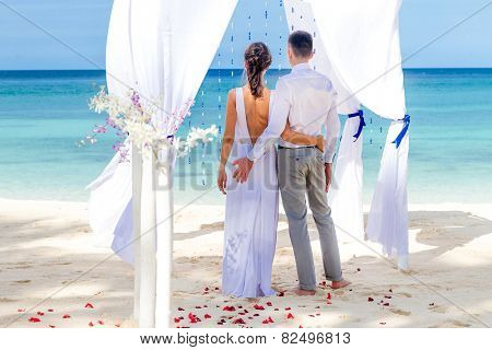young loving couple on their wedding day, beautiful wedding arch on beach, outdoor beach wedding in tropics