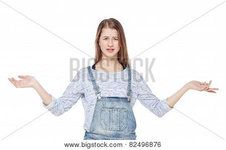 Annoyed Young Fashion Girl In Jeans Overalls Isolated