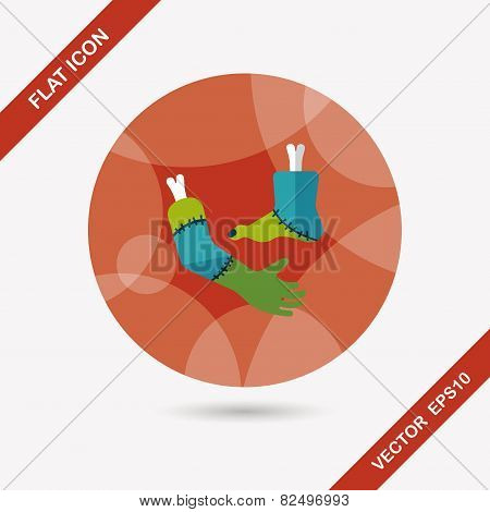 Halloween Hand And Leg Flat Icon With Long Shadow,eps10