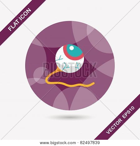 Halloween Eyeball Flat Icon With Long Shadow,eps10