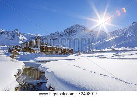 Tignes Village With Sun
