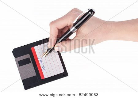 Female Hand Signs Floppy Disk