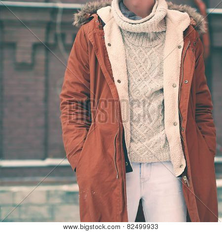 Fashion Male Look, Jacket And Sweater, Soft Vintage Colors