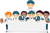 foto of stickman  - Stickman Illustration of Boys in Football Gear Holding a Banner - JPG