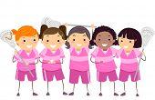 stock photo of stickman  - Stickman Illustration of Girls in Lacrosse Gear - JPG