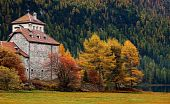 stock photo of wett  - wonderful Castle Crap da Sass in Switzerland surrounded by famous fall colors - JPG