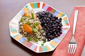 foto of scallion  - Healthy nutty Quinoa and Carrot Salad and scallions with black beans - JPG