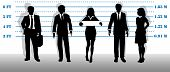 image of white collar crime  - A company of most wanted white collar business people lined up in a line up - JPG