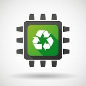 image of cpu  - Illustration of a CPU icon with a recycle sign - JPG