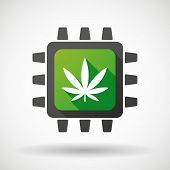 image of cpu  - Illustration of a CPU icon with a marijuana leaf - JPG