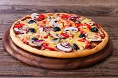 foto of hot fresh pizza  - Delicious fresh pizza with seafood - JPG