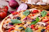 stock photo of hot fresh pizza  - Delicious fresh pizza with seafood - JPG