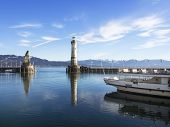 stock photo of passenger ship  - Image of port of Lindau with passenger ship - JPG