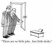 stock photo of disrespect  - Cartoon of business boss indicating tiny desk for businessman - JPG