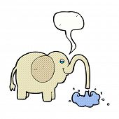 foto of squirting  - cartoon elephant squirting water with speech bubble - JPG