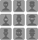 picture of googly-eyes  - A set of nine male portrait silhouette web icons or pictograms - JPG