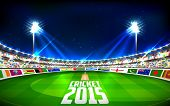 pic of west indies  - illustration of stadium of cricket showing flags of participating countries - JPG