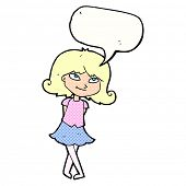 pic of clever  - cartoon clever girl with speech bubble - JPG