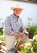 stock photo of spade  - Portrait of a smiling senior with a spade in the garden - JPG