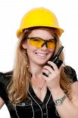 picture of ppe  - Female construction worker on a job site - JPG