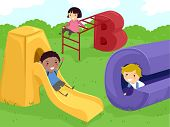 foto of stickman  - Stickman Illustration of Kids Playing in a Playground - JPG