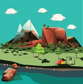 stock photo of polygon  - Vector landscape in low - JPG