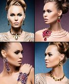 picture of jewelry  - Beautiful woman in a precious necklaces - JPG