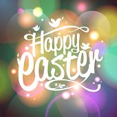 pic of happy easter  - Happy Easter card with bokeh lights - JPG