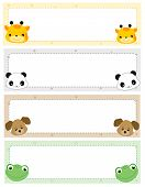 pic of cute animal face  - Colorful kids name tags with cute animal faces on corners - JPG
