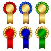 foto of rosettes  - Elegant blank award ribbon rosettes in shiny red green and blue with gold isolated on white background - JPG