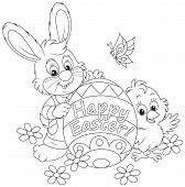 picture of cony  - Little rabbit and chicken holding a colorfully colored Easter egg - JPG