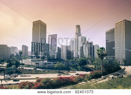 Los Angeles,CA.  June 2nd, 2015  Another dry hot sunny California rainless day as sun filters through downtown city smog.