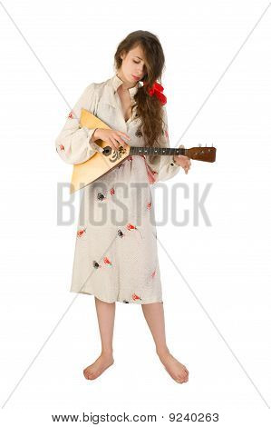 Pretty Woman With A Folk Russian Stringed Instrument