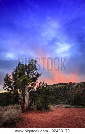 Sundown afterglow in Arizona high desert. Sedona, Arizona