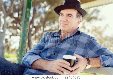 Portrait of an old man outdoors