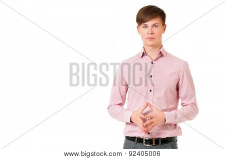 Young businessman in shirt, isolated on white background