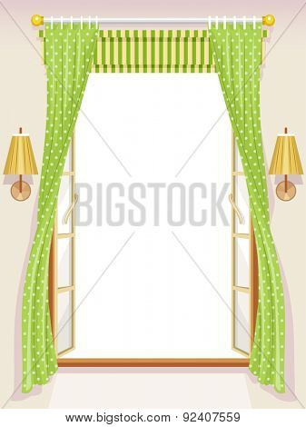 Illustration of an Open Window with Roman Shades