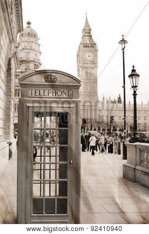 Vintage view of London, Big Ben &  phone booth