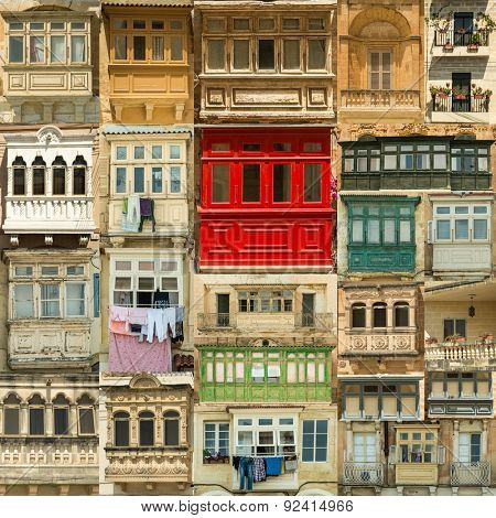 Collage of vintage variety balconies Malta