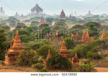 Pagoda landscape in the plain of Bagan, Myanmar (Burma)