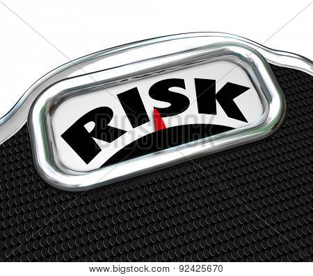 Risk word on a scale display to illustrate health care and wellness risk factors of overeating and obesity