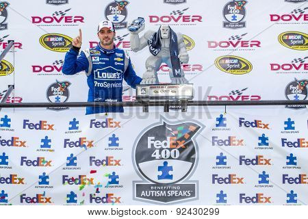 Dover, DE - May 31, 2015:   Jimmie Johnson (48) wins the FedEx 400 benefiting Autism Speaks at Dover International Speedway in Dover, DE.