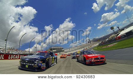 Dover, DE - Jan 08, 2015:  Darrell Wallace Jr (6) and Chris Buescher (60) lead the field for the Buckle Up 200 at Dover International Speedway in Dover, DE.