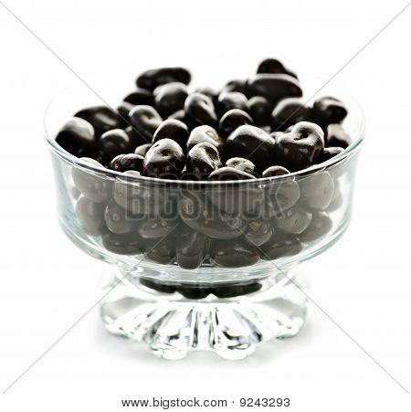 Bowl Of Chocolate Coated Cranberries Or Raisins